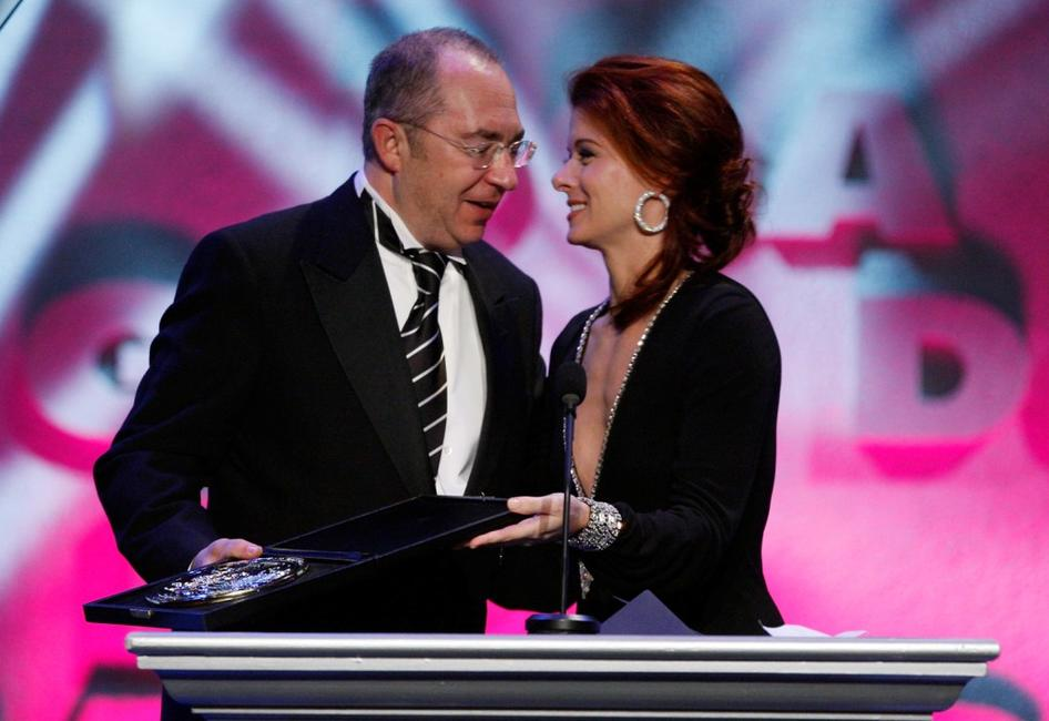 Barry Sonnenfeld and Debra Messing at the 60th annual DGA Awards held at the Hyatt Regency Century Plaza Hotel.