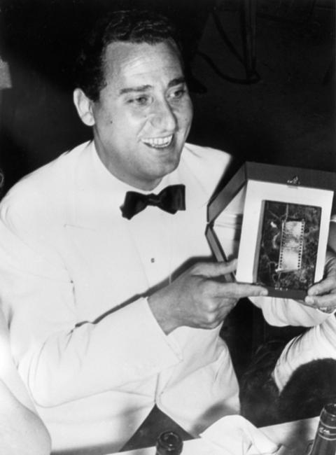 Undated picture of famous Italian actor Alberto Sordi after he was awarded a prize.