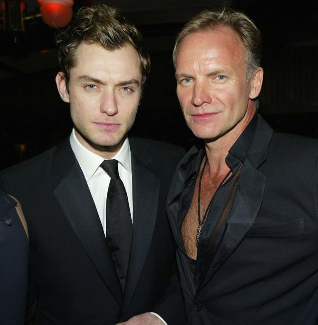 Jude Law and Sting at the Miramax Golden Globes after party.