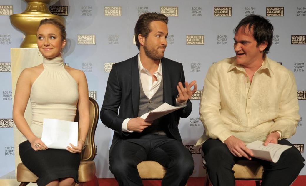 Quentin Tarantino, Ryan Reynolds and Hayden Panettiere at the 65th Annual Golden Globe Nominations.