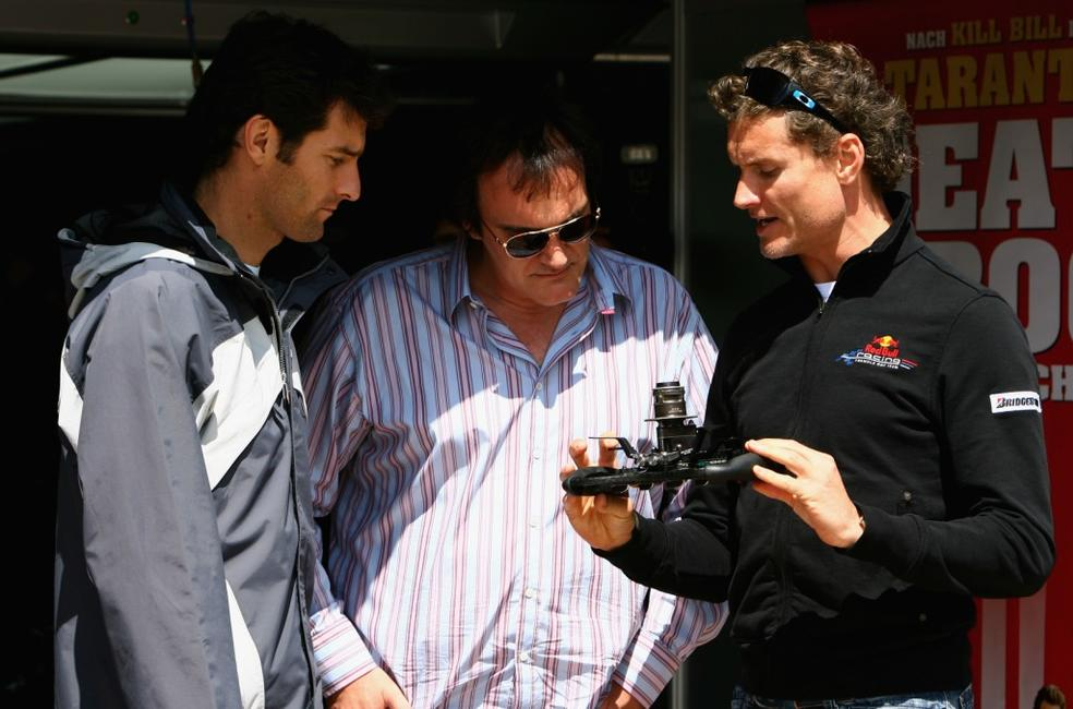 Quentin Tarantino, Mark Webber and David Coulthard at the European Grand Prix.