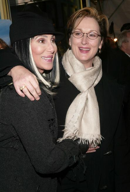 Cher and Meryl Streep at the premiere of