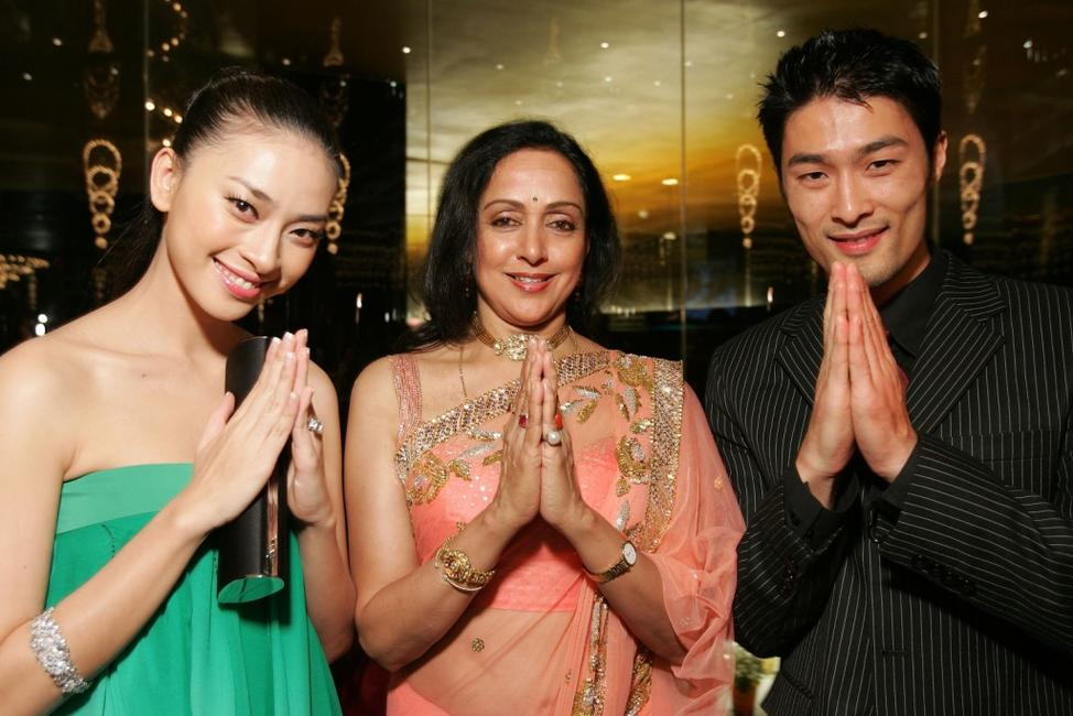 Ngo Thanh Van, Hema Malini and Johnny Nguyen at the 2007 Bangkok International Film Festival Opening Ceremony.