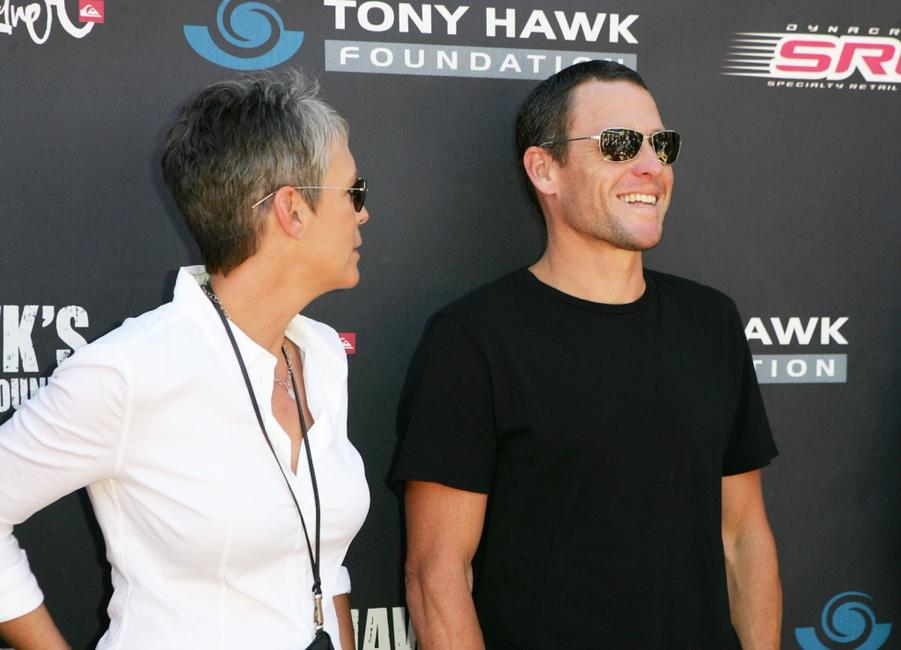 Jamie Lee Curtis and cyclist Lance Armstrong at the Tony Hawk's Proving Ground Stand Up For Skateparks.