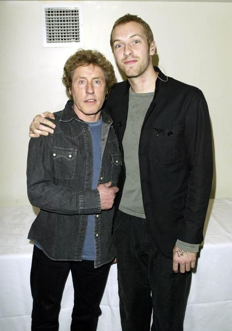 Roger Daltrey and Chris Martin at the charity concert in aid of the