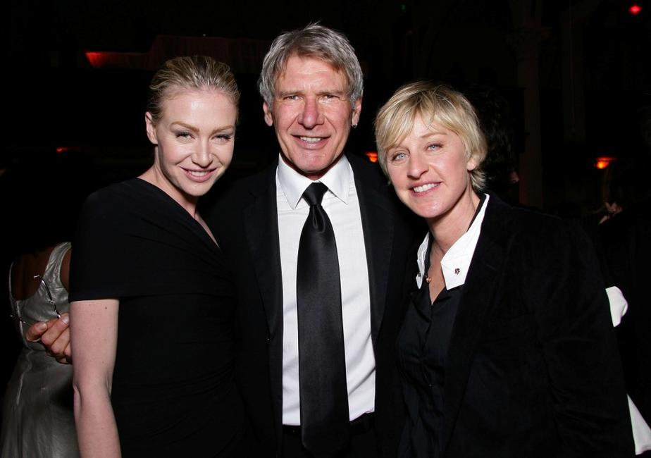 Ellen DeGeneres, Portia De Rossi and Harrison Ford at the Heaven Celebrating 10 Years event benefiting the Art Elysium.