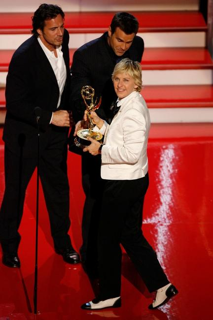 Ellen DeGeneres and Thorsten Kaye with Cameron Mathison at the 34th Annual Daytime Emmy Awards.