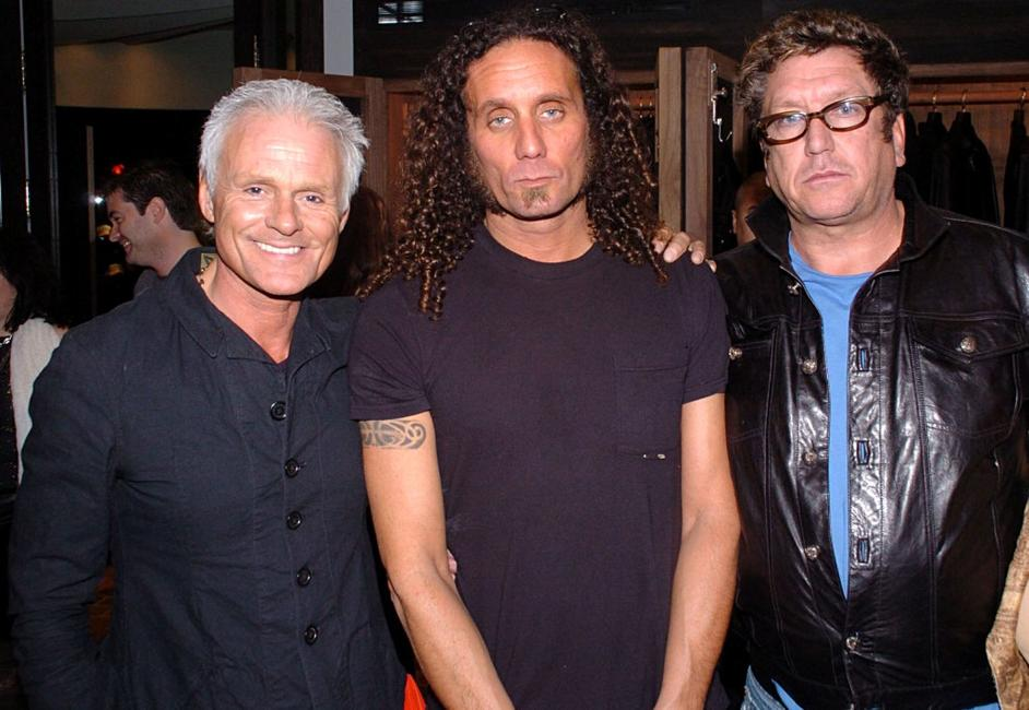 Michael Des Barres, Richard Stark and Steven Jones at the grand opening party of Chrome Hearts clothing and fashion accessories store.