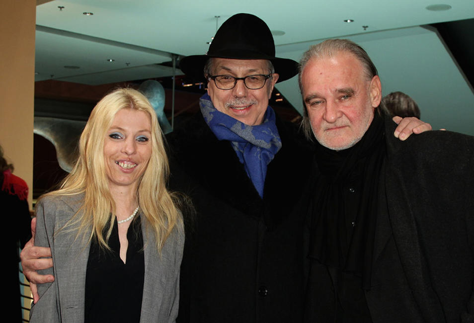 Erika Bok, festival director Dieter Kosslick and director Bela Tarr at the premiere of
