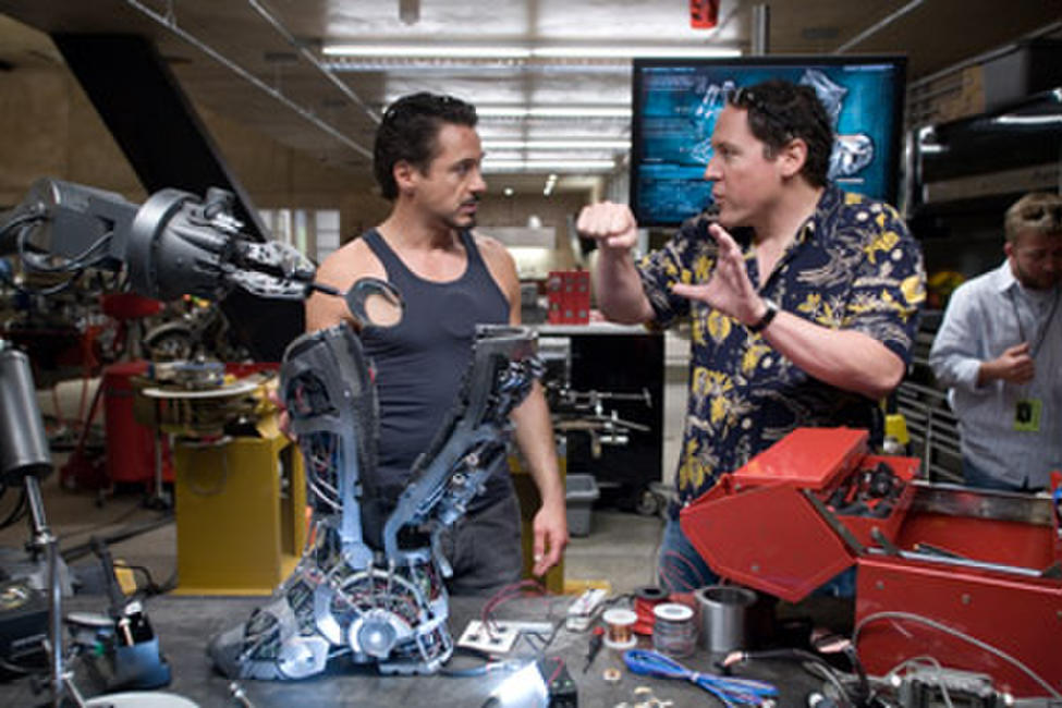Robert Downey Jr. and and director/executive producer Jon Favreau on the set of