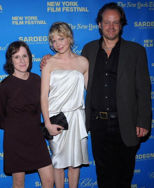 Kelly Reichardt, Michelle Williams and Larry Fessenden at the premiere of