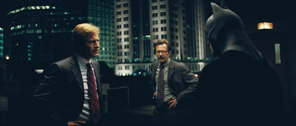 Aaron Eckhart, Gary Oldman and Christian Bale in