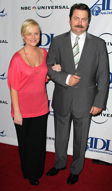 Amy Poehler and Nick Offerman at the Anti-Defamation League Awards Dinner in California.