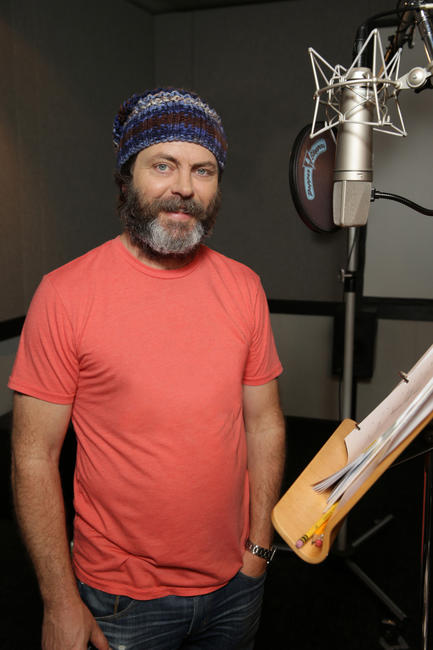Nick Offerman on the set of