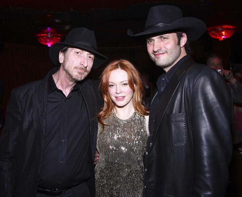 Frank Miller, Rose McGowan and Director Robert Rodriguez at the Miller's birthday party.