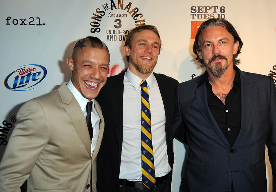 Theo Rossi, Charlie Hunnam and Tommy Flanagan at the California premiere of