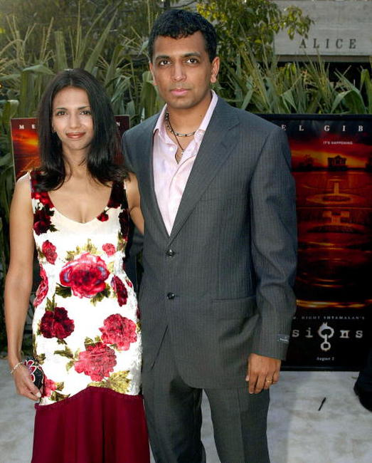 M. Night Shyamalan and wife Bhavna at the premiere of