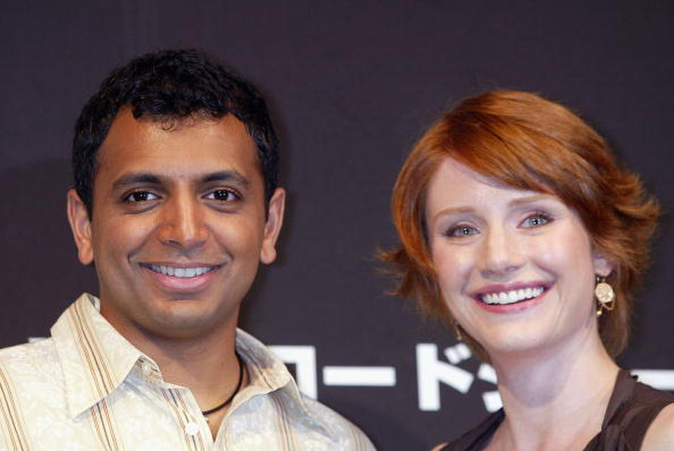 M. Night Shyamalan and Bryce Dallas Howard at the press conference for