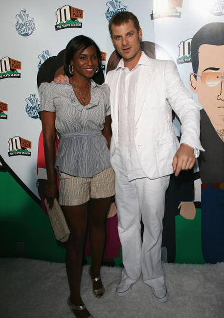 Angela Howard and Matt Stone at the Comedy Central celebration of South Park's 10th Year.