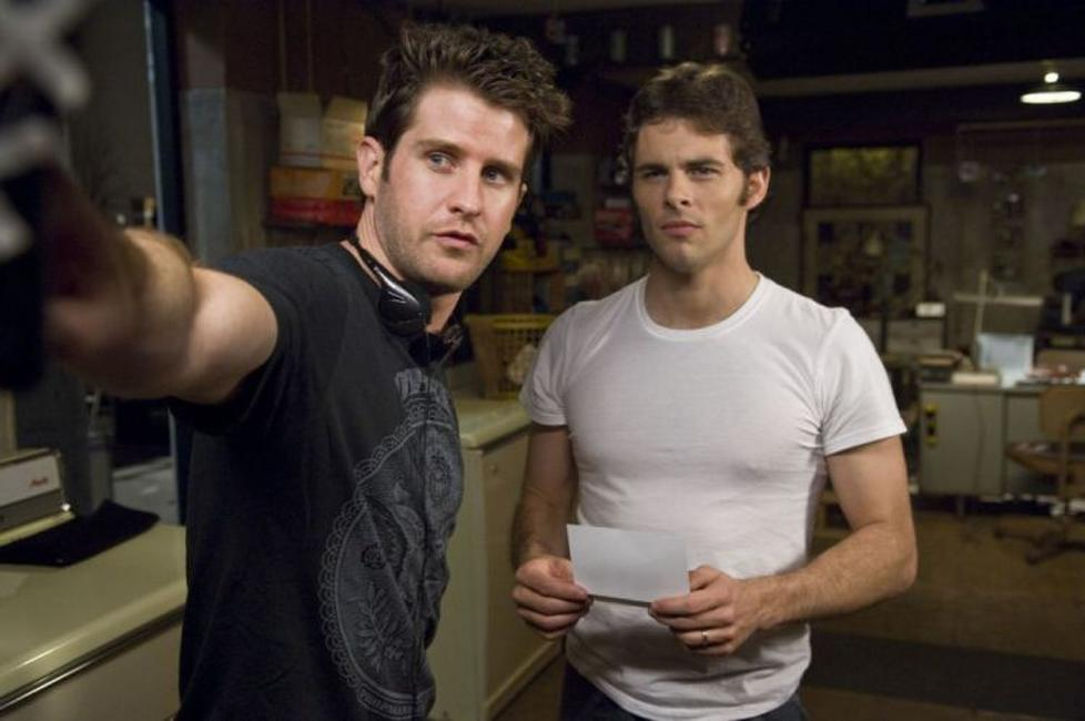Director Richard Kelly and James Marsden on the set of