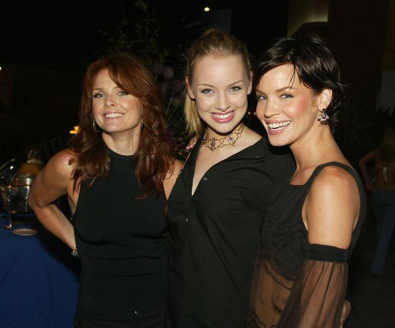 Dina Meyer, Rachel Skarsten and Ashley Scott at the WB Television Network's 2002 Summer party.