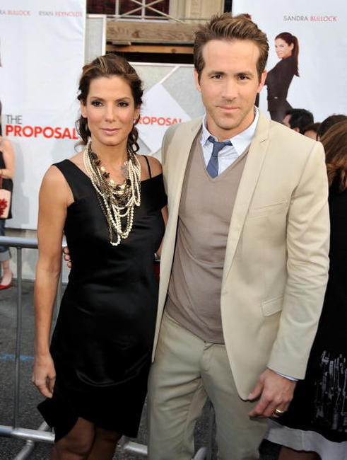 Sandra Bullock and Ryan Reynolds at the premiere of