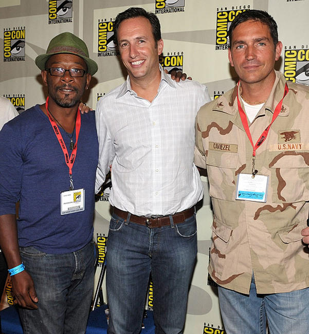 Lennie James, president and general manager of AMC Charlie Collier and Jim Caviezel at the Comic-Con 2009