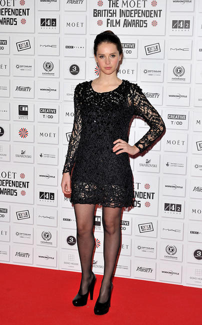 Felicity Jones at the Moet British Independent Film Awards in England.