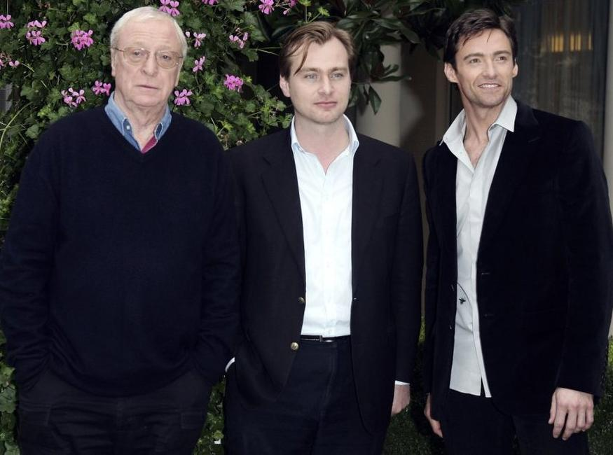 Michael Caine, Christopher Nolan and Hugh Jackman at the premiere of