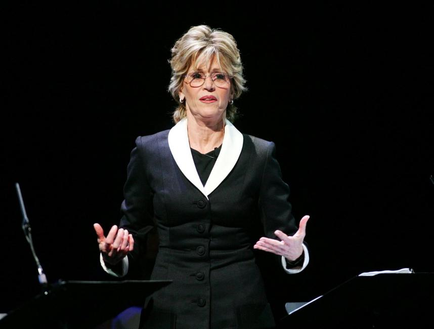 Jane Fonda performs at the opening night of V-Day's festival
