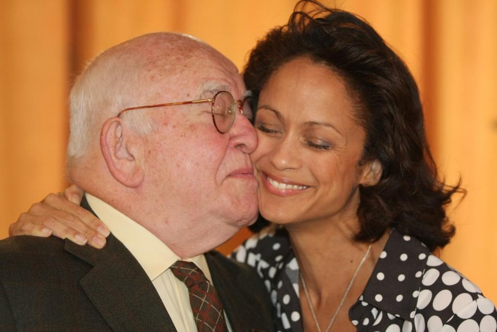 Ed Asner and Anne-Marie Johnson at the Award Of Excellence Star presentation.