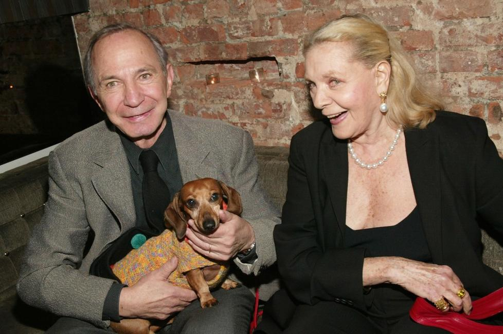 Ben Gazzara with his dog and Lauren Bacall at the New York Premiere after-party of