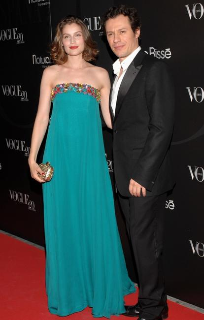 Laetitia Casta and Stefano Accorsi at the Vogue Magazine 20th anniversary party.