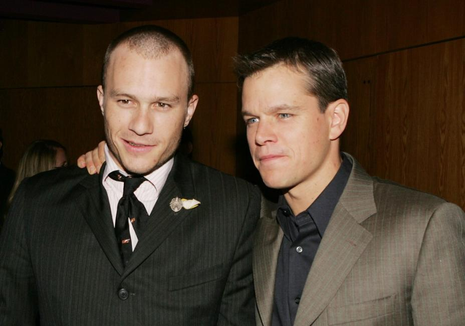 Heath Ledger and Matt Damon at the premiere of