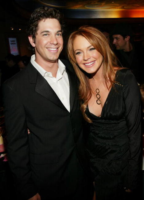 Adam Garcia and Lindsay Lohan at the premiere of