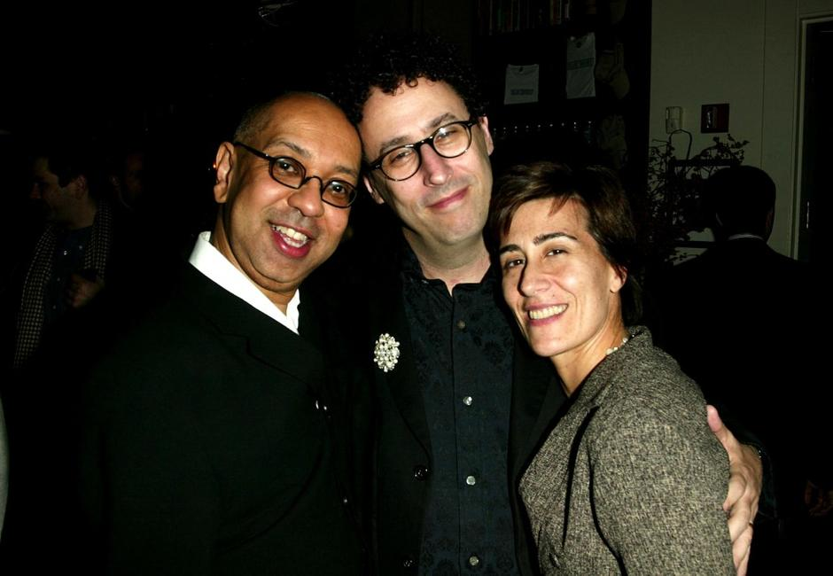 George C.Wolfe, Tony Kushner and Jeanine Tesori at the after party of the play opening of