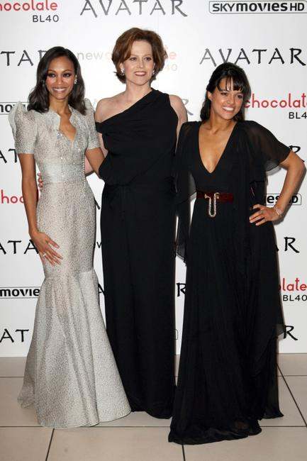 Zoe Saldana, Sigourney Weaver and Michelle Rodriguez at the London premiere of