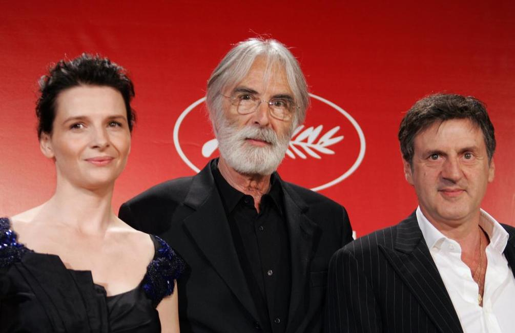Daniel Auteuil, Juliette Binoche and Michael Haneke at the 58th edition of the Cannes International Film Festival.