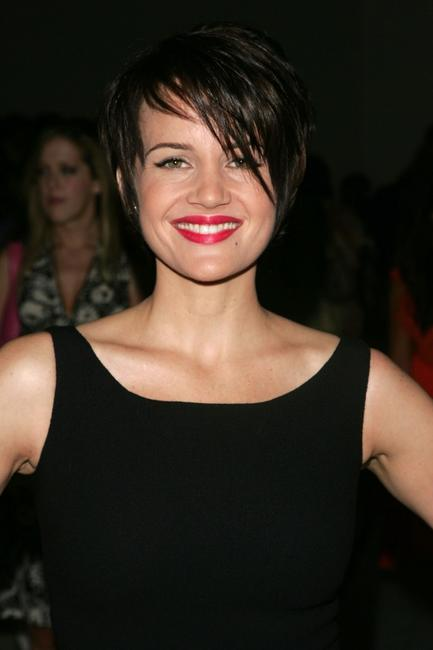 Carla Gugino at the Reem Acra 2008 Fashion Show during the Mercedes-Benz Fashion Week Spring 2008.