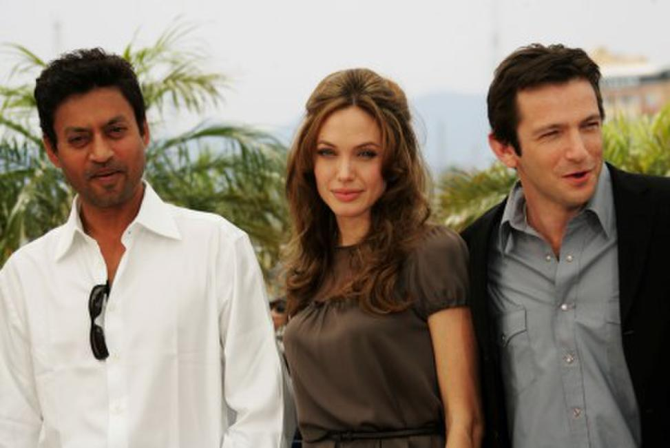 Irfan Khan, Angelina Jolie and Dan Futterman at the photocall of