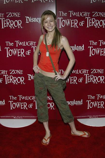 Brie Larson at the grand opening of The Twilight Zone Tower of Power ride.