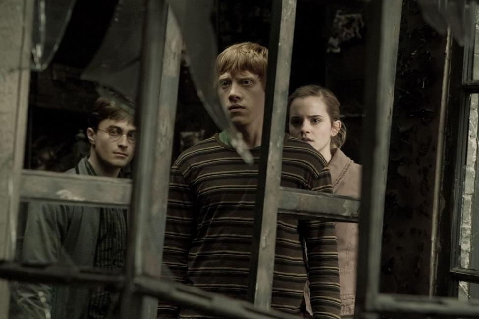 Daniel Radcliffe as Harry Potter, Rupert Grint as Ron Weasley and Emma Watson as Hermione Granger in