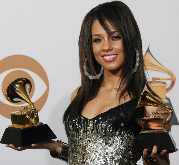 Alicia Keys at the 50th Grammy Awards.