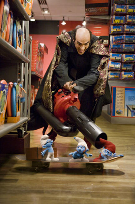 Hank Azaria as Gargamel and Brainy Smurf, Gutsy Smurf and Papa Smurf in ``The Smurfs.''