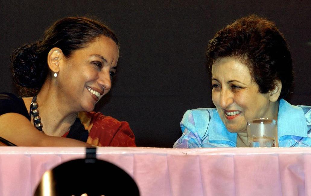 Shabana Azmi and Shirin Ebadi at the opening ceremony of the 2004 World Social Forum (WSF).