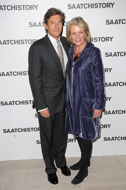 Nigel Havers and Georgiana Bronfman at the Saachi and Saachi party to celebrate 40 years of Saachi in England.
