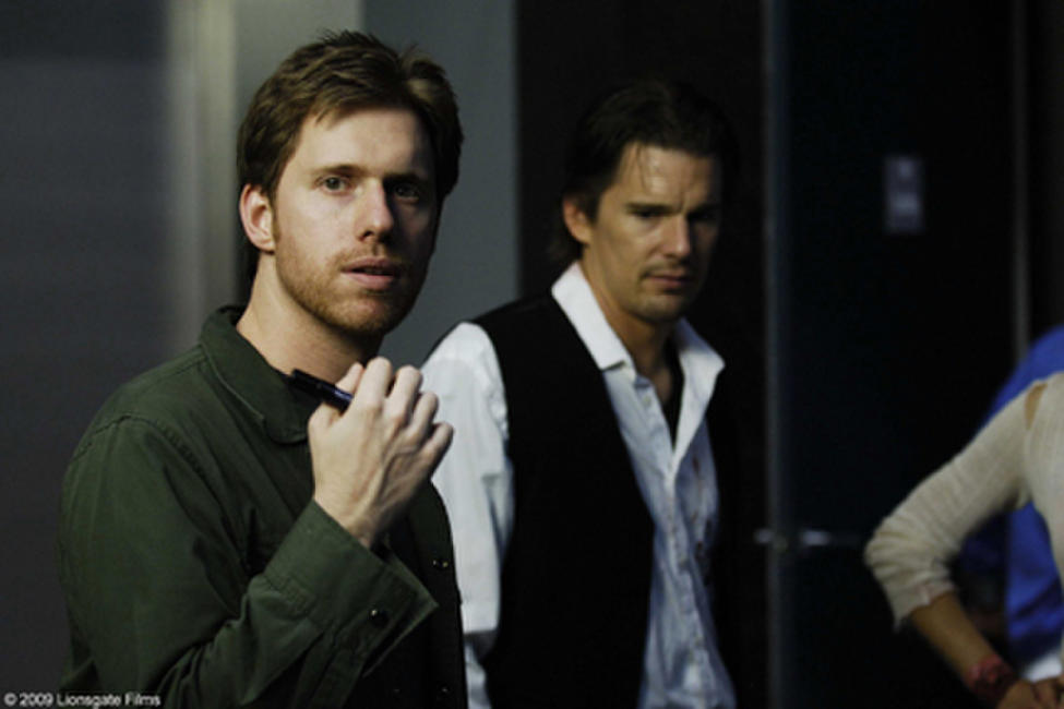 Co-director Peter Spierig and Ethan Hawke on the set of