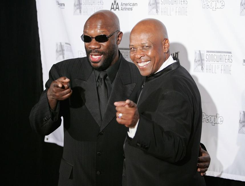 Isaac Hayes and David Porter at the 2005 Songwriters Hall of Fame induction ceremony at the Marriott Marquis Hotel.