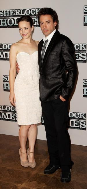Rachel McAdams and Robert Downey Jr. at the pre-production press conference of