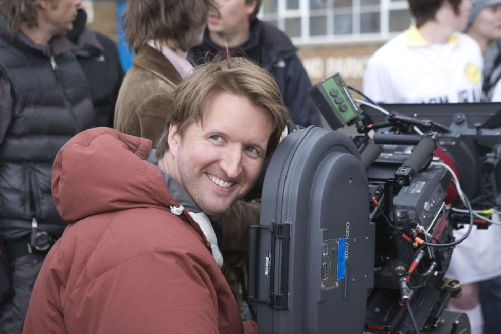 Director Tom Hooper on the set of
